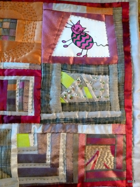 quilt cats in the garden, 2